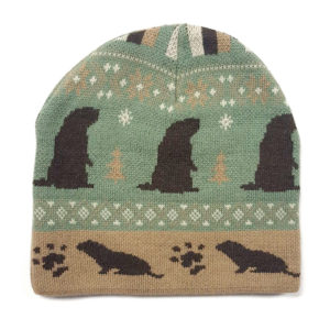 Knit Beanie with groundhog