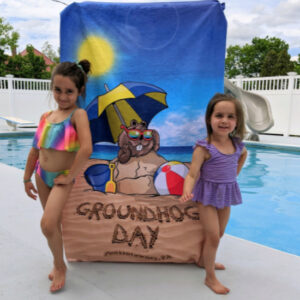 groundhog day beach towel