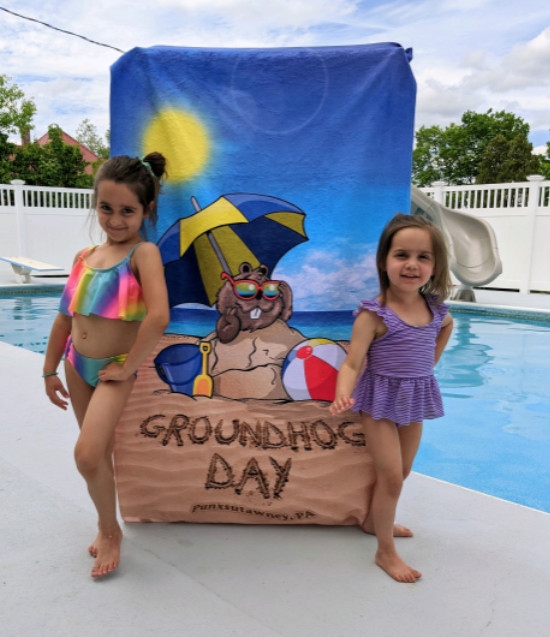 groundhog day beach towel